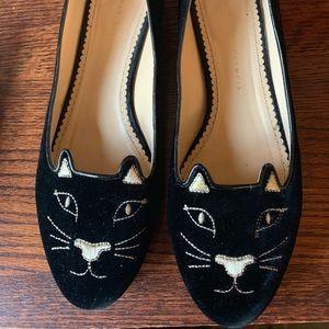 Charlotte Olympia Black Velvet Kitty Flats 40 / 10